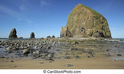 Oregon Coast - Morning at Haystack Rock, Cannon Beach,...