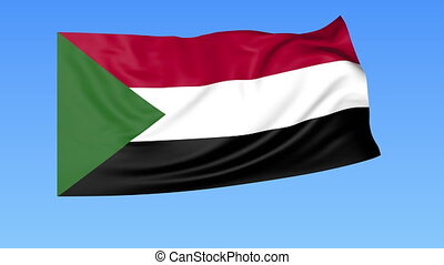 Waving flag of Sudan, seamless loop Exact size, blue...