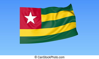 Waving flag of Togo, seamless loop. Exact size, blue...