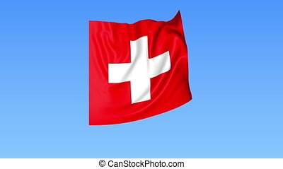Waving flag of Switzerland, seamless loop. Exact size, blue background. Part of all countries set. 4K ProRes with alpha