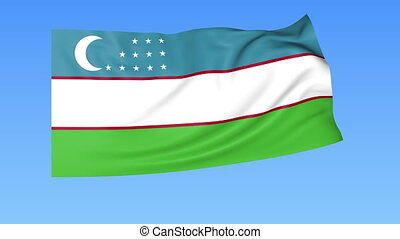 Waving flag of Uzbekistan, seamless loop. Exact size, blue...