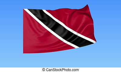 Waving flag of Trinidad and Tobago, seamless loop. Exact size, blue background. Part of all countries set. 4K ProRes