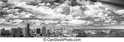 Downtown Miami. Aerial view in black and white