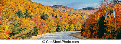 Highway and Autumn foliage panorama in White Mountain, New...