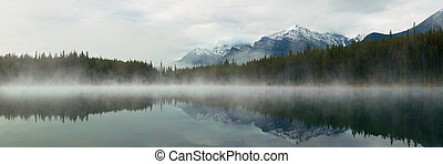 Lake Herbert panorama in a foggy morning with glaciers...