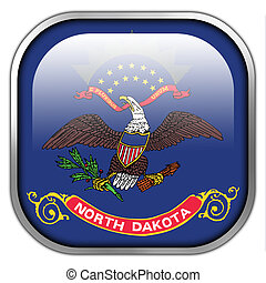 Flag of North Dakota State, square glossy button