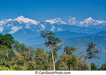 Silerygaon Village, with Himalayan mountain in backdrop,...