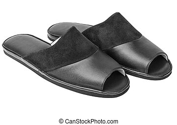 Leather slippers isolated on white - Pair of black genuine...