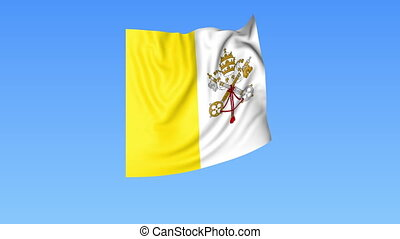 Waving flag of Vatican, seamless loop. Exact size, blue background. Part of all countries set. 4K ProRes with alpha
