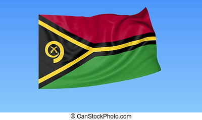 Waving flag of Vanuatu, seamless loop. Exact size, blue...