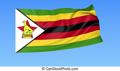 Waving flag of Zimbabwe, seamless loop. Exact size, blue background. Part of all countries set. 4K ProRes with alpha