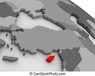 Cyprus highlighted in red on model of globe 3D illustration