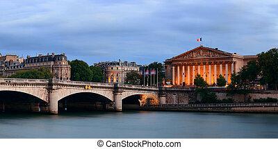 Seine - Paris River Seine panorama with Pont de la Concorde...