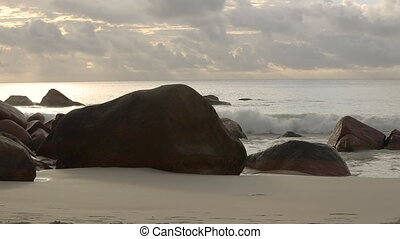 Typical coast of Anse Lazio, Praslin island in evening...