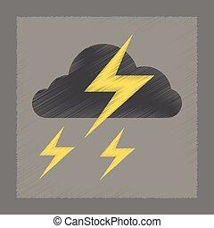 flat shading style icon lightning cloud