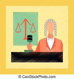 flat shading style icon jurisdiction judge - flat shading...