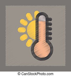 flat shading style icon thermometer hot weather - flat...