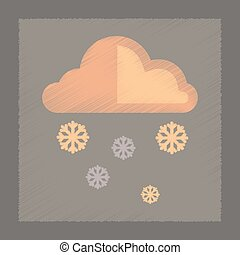 flat shading style icon cloud Snow