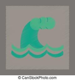 flat shading style icon danger tsunami