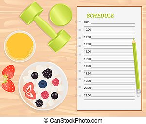 Vector cottage cheese with berries, orange juice, weights...