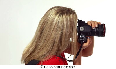 Woman photographer - Attractive young woman taking...