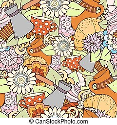 Seamless tea and coffee doodle pattern with paisley and flowers. Ethnic zentangle pattern template can be used for menu, wallpaper, pattern fills. Hand Drawn. Colorful pattern.