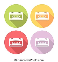 Audio Cassette Flat Icons Set - Audio Cassette Flat Style...