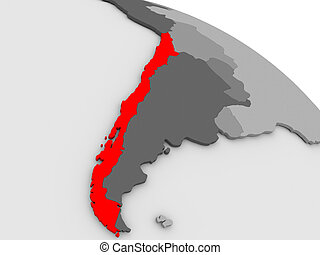 Chile highlighted in red on model of globe. 3D illustration