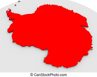 Antarctica highlighted in red on model of globe 3D...