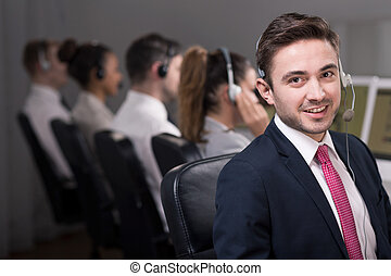 Friendly work enviroment in call center - Young male...