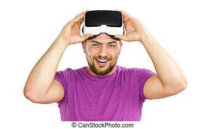 Young man wearing VR glasses - Young man wearing virtual...
