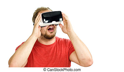 Young man wearing virtual reality googles VR Glasses - Young...