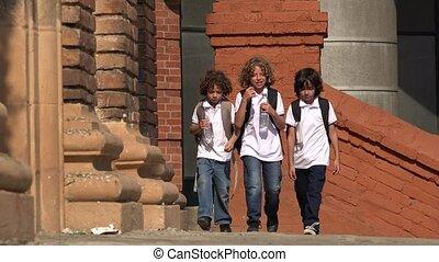 School Kids Drinking Bottled Water