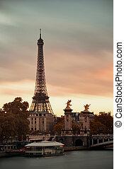 Seine - Paris River Seine with Eiffel tower and Alexandre...