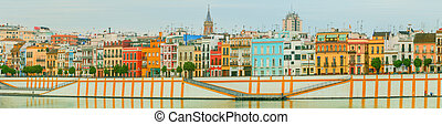 Seville panoramic cityscape with historical buildings, city...