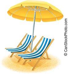 Beach Resort Illustration - Beach summer resort with deck...