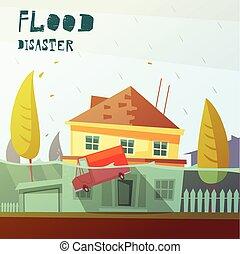 Flood Disaster Illustration - Color cartoon illustration...