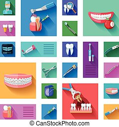 Dentist Icons Set - Different colorful dentist icons set...