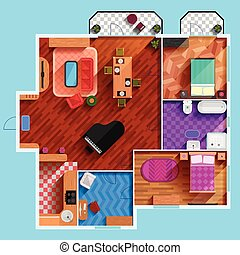 Top View Of Interior Of Typical Apartment - Top view of the...