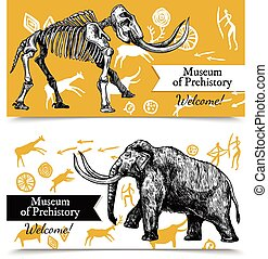 Sketch Hand Drawn Mammoth Banners - Horizontal welcome to...