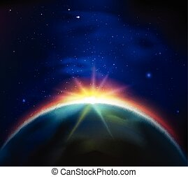 Space Sunrise Background - Sunrise in starry dark sky view...