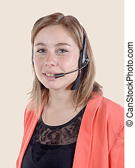 Call center operator business woman. Isolated