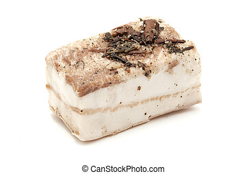 Lardo di Colonnata on a white background