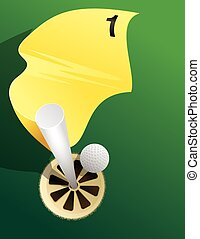 Hole In One - Golf flag and hole from above with ball about...