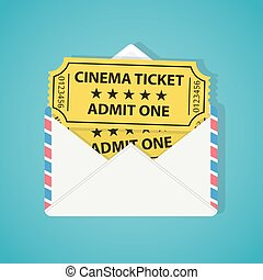 White envelope with two vintage cinema tickets.