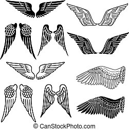 Wings set linear silhouette isolated on white background,...