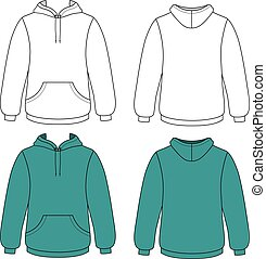 Unisex hoodie - Hoodie sweater (front & back outlined view)...