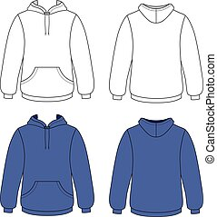 Unisex hoodie - Hoodie sweater front back outlined view...