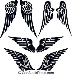 Angel wings set silhouette isolated on background, vector...