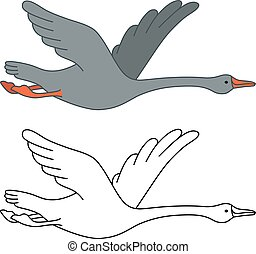 Soaring goose, vector illustration isolated on white...